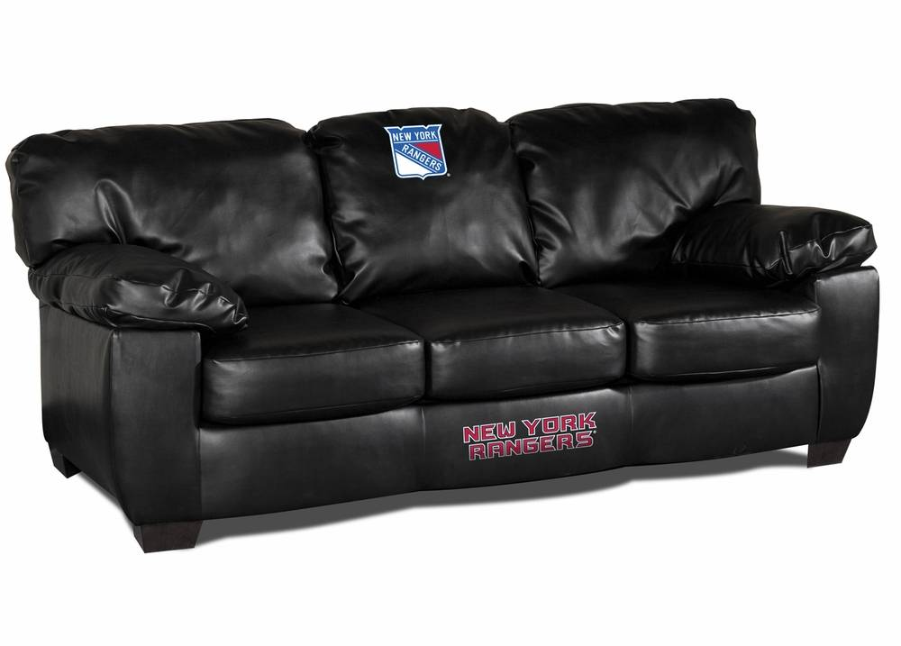 Combining Modern Style With Fan Spirit, The New York Rangers Black Leather Classic  Sofa Will Fit Perfectly In Any Fan Cave Or Game Room!
