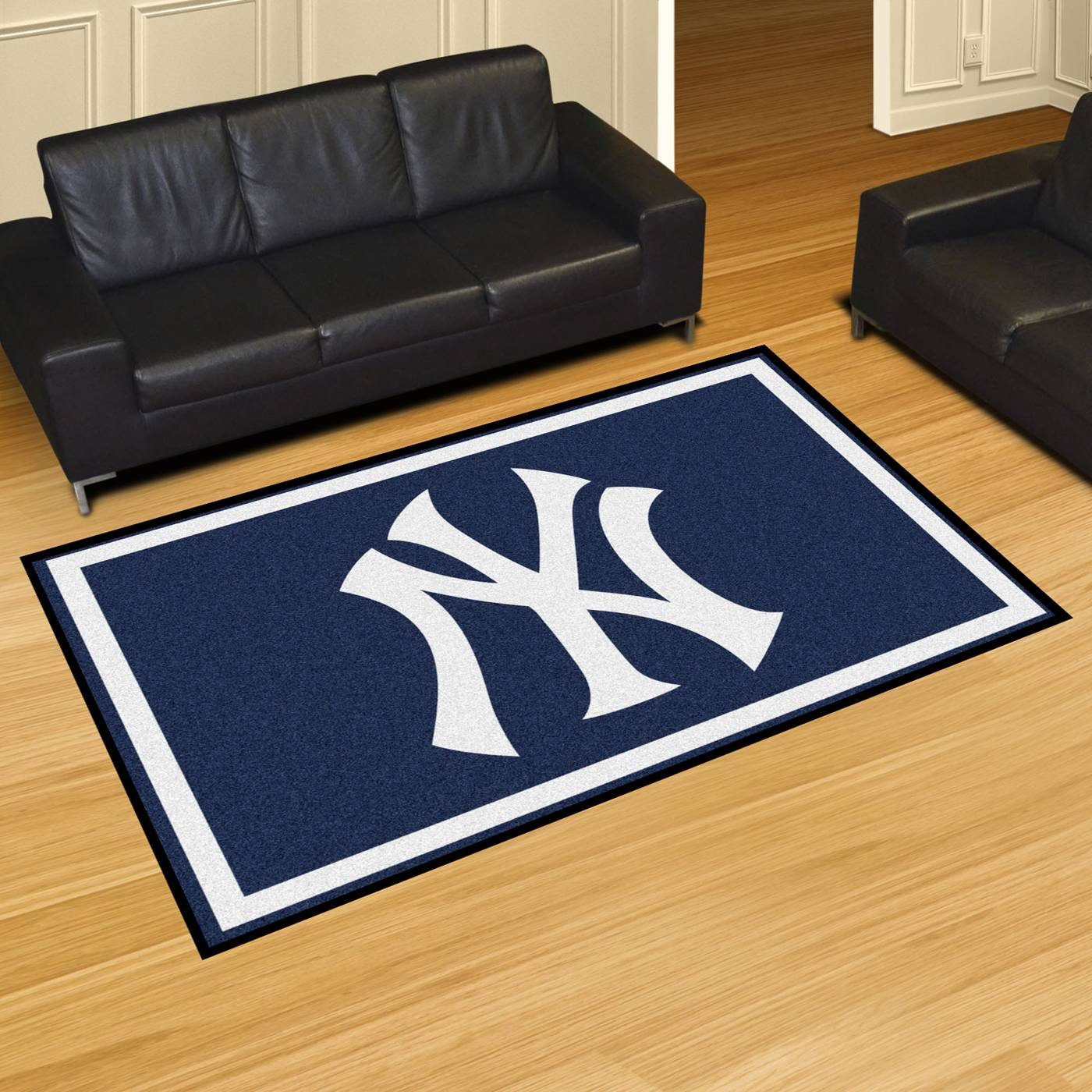 New york yankees 5 39 x 8 39 area rug for Area rugs new york