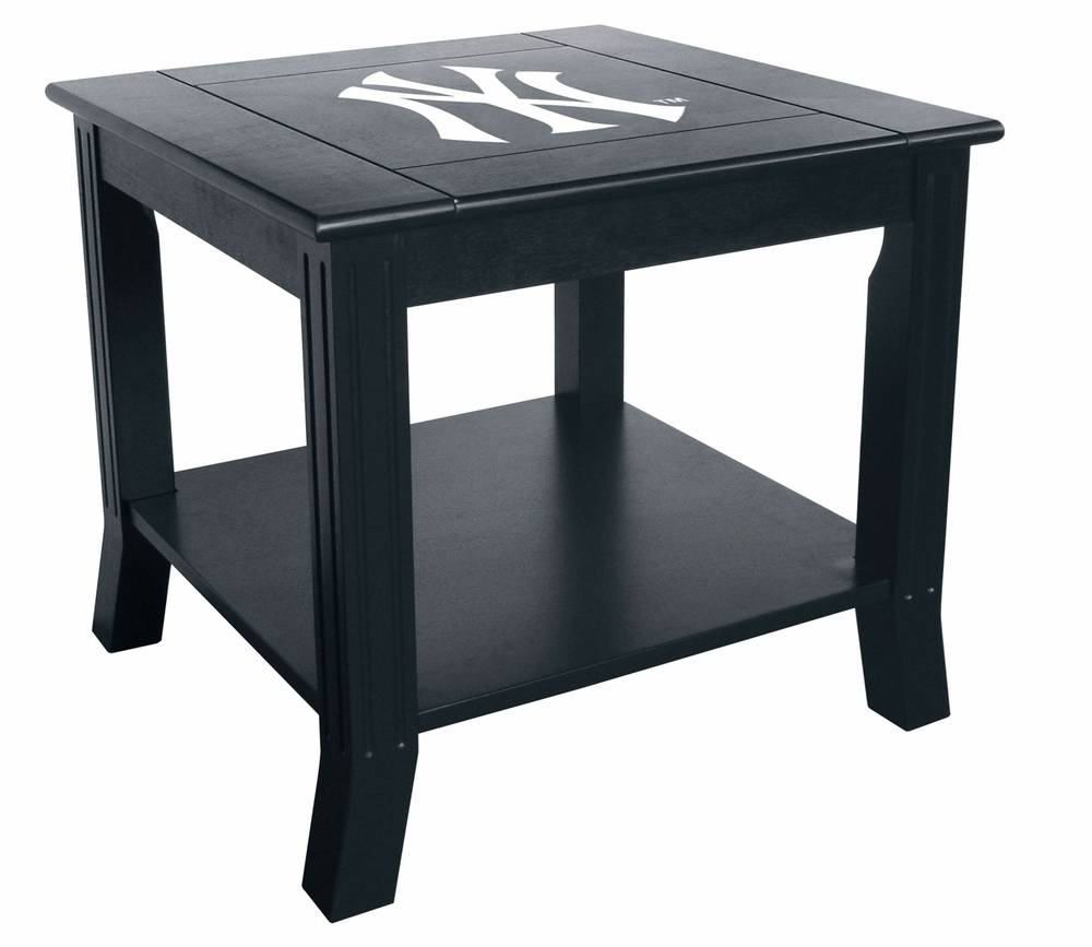 New york yankees side table designed to match the team coffee table the new york yankees side table is a great piece for the game room or fan cave with a reversible logo panel geotapseo Image collections