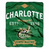 North Carolina Charlotte 49ers Label Raschel Throw Blanket