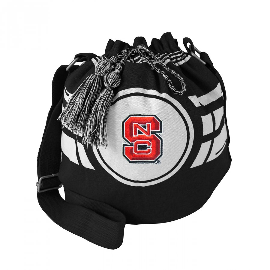 North Carolina State Wolfpack Black Ripple Drawstring Bucket Bag