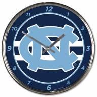 North Carolina Tar Heels Round Chrome Wall Clock