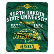 North Dakota State Bison Label Raschel Throw Blanket