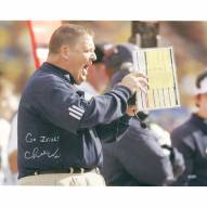 "Notre Dame Fighting Irish Charlie Weis Yelling from Sidelines w/ ""Go Irish"" Signed 16"" x 20"" Photo"