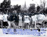 "Notre Dame Fighting Irish Lou Holtz Playing Basketball with Tim Brown Story Signed 16"" x 20"" Photo"