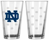 Notre Dame Fighting Irish Satin Etch Pint Glass - Set of 2