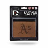 Oakland Athletics Brown Leather Trifold Wallet
