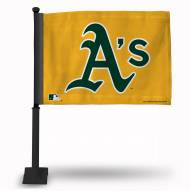 Oakland Athletics Car Flag with Black Pole