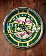 Oakland Athletics Chrome Wall Clock