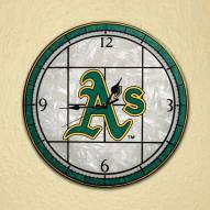 Oakland Athletics MLB Stained Glass Wall Clock