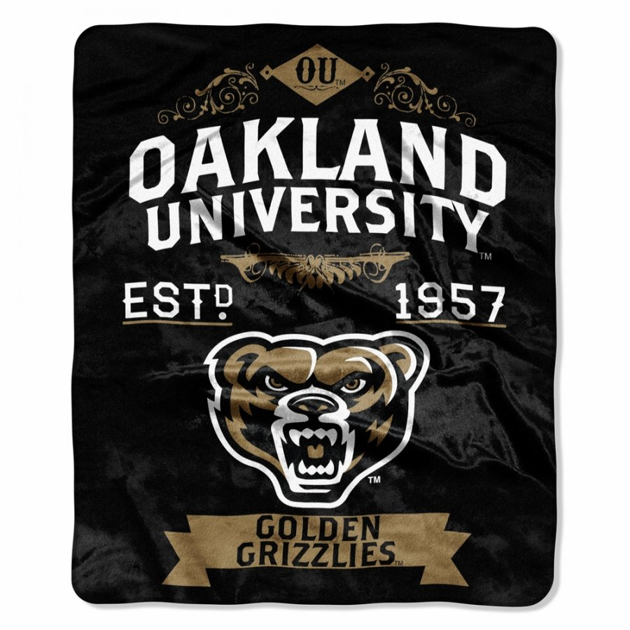 Oakland Golden Grizzlies Label Raschel Throw Blanket