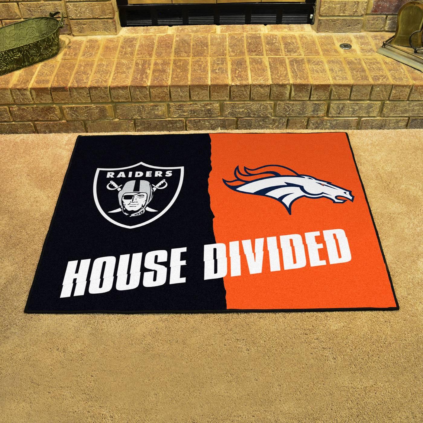 Oakland Raiders Denver Broncos House Divided Mat