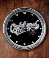 Oakland Raiders NFL Chrome Wall Clock