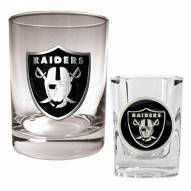 Oakland Raiders Rocks Glass & Shot Glass Set