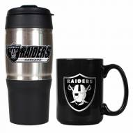 Oakland Raiders Travel Tumbler & Coffee Mug Set