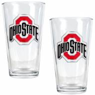 Ohio State Buckeyes College 16 Oz. Pint Glass 2-Piece Set