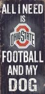 Ohio State Buckeyes Football & Dog Wood Sign