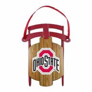 Ohio State Buckeyes Metal Sled Tree Ornament