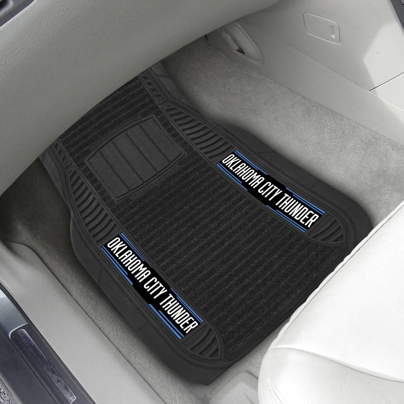 Oklahoma city thunder deluxe car floor mat set for Parquet mat ou satine