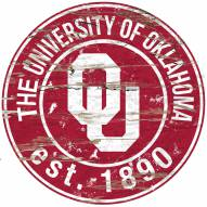 "Oklahoma Sooners 24"""" Round Wood Sign"