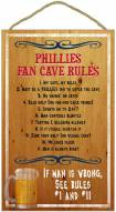 Philadelphia Phillies Fan Cave Rules Wood Sign