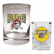 Pittsburgh Pirates MLB 14 Oz Rocks Glass & Square Shot Glass 2-Piece Set