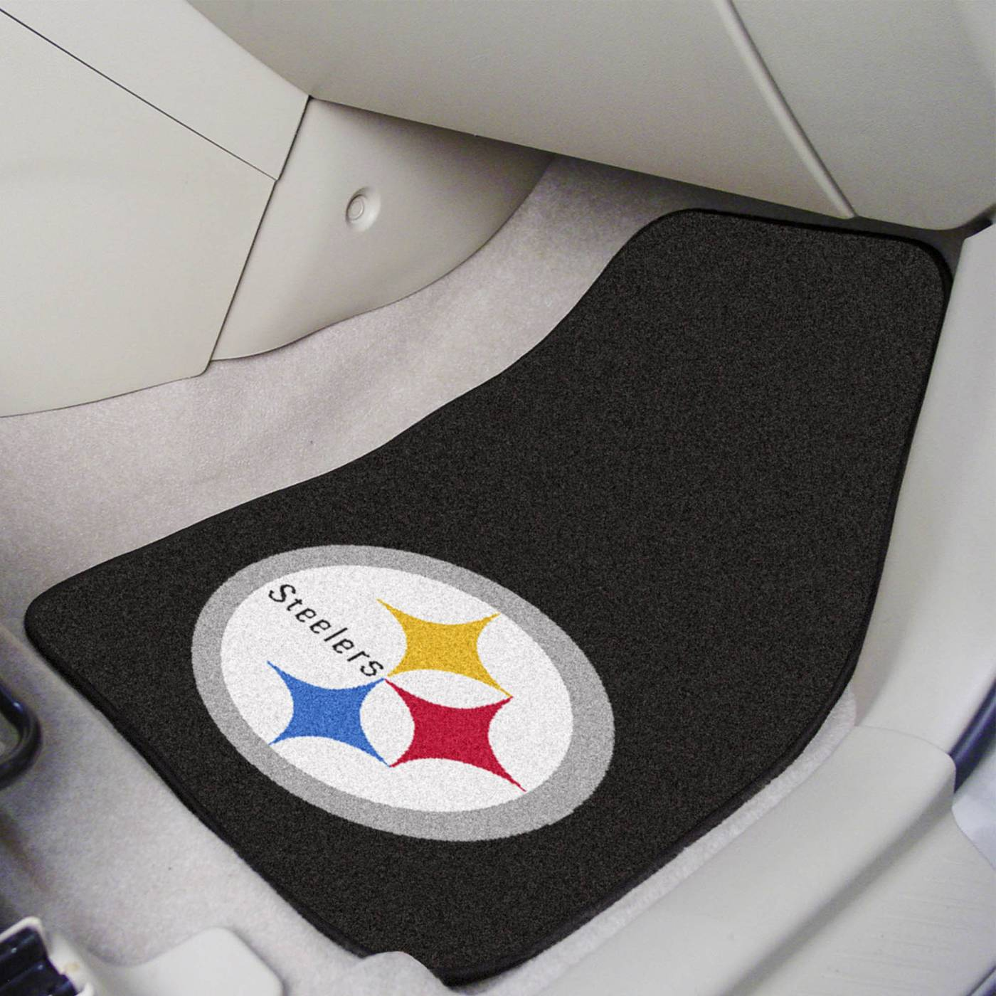Pittsburgh steelers 2 piece carpet car mats for Floor 2 pittsburgh