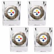 Pittsburgh Steelers Open Field 4-Piece RealTree Square Shot Glass Set