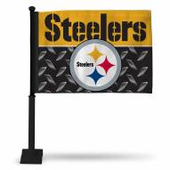 Pittsburgh Steelers Car Flag with Black Pole