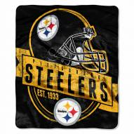 Pittsburgh Steelers Grand Stand Raschel Throw Blanket