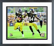 Pittsburgh Steelers Le'Veon Bell & Antonio Brown 2014 Action Framed Photo