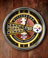 Pittsburgh Steelers NFL Chrome Wall Clock
