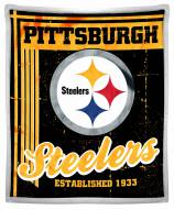 Pittsburgh Steelers Old School Mink Sherpa Throw Blanket