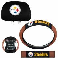 Pittsburgh Steelers Steering Wheel & Headrest Cover Set