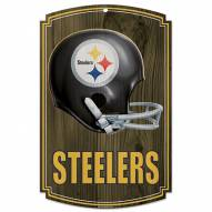 Pittsburgh Steelers Throwback Helmet Wood Sign