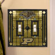 Purdue Boilermakers Glass Double Switch Plate Cover