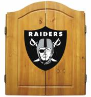 Oakland Raiders NFL Complete Dart Board Cabinet Set (w/darts & flights)