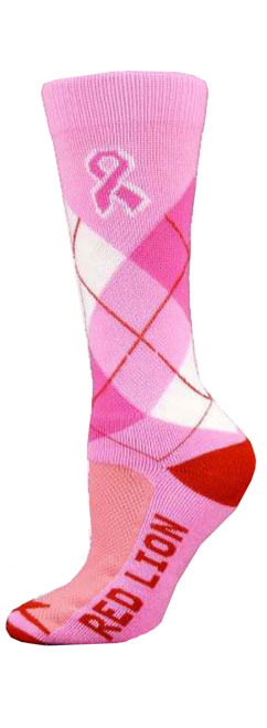 Red Lion Ribbon Argyle Crew Adult Socks - Sock Size 9-13