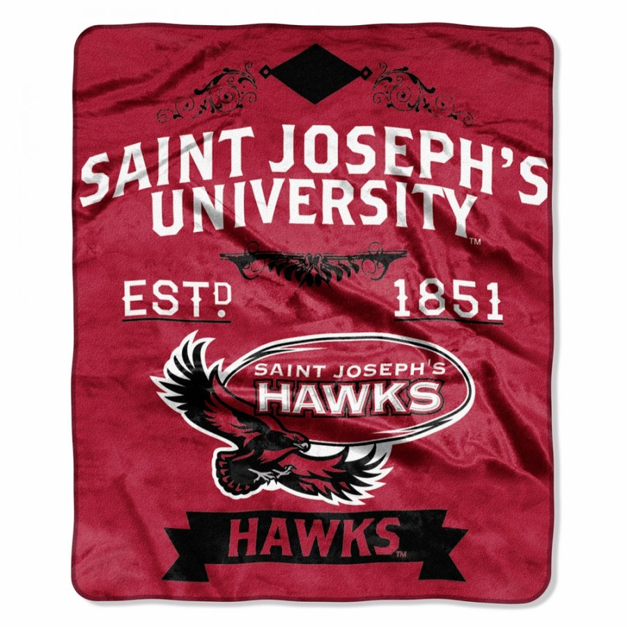 Saint Joseph's Hawks Label Raschel Throw Blanket