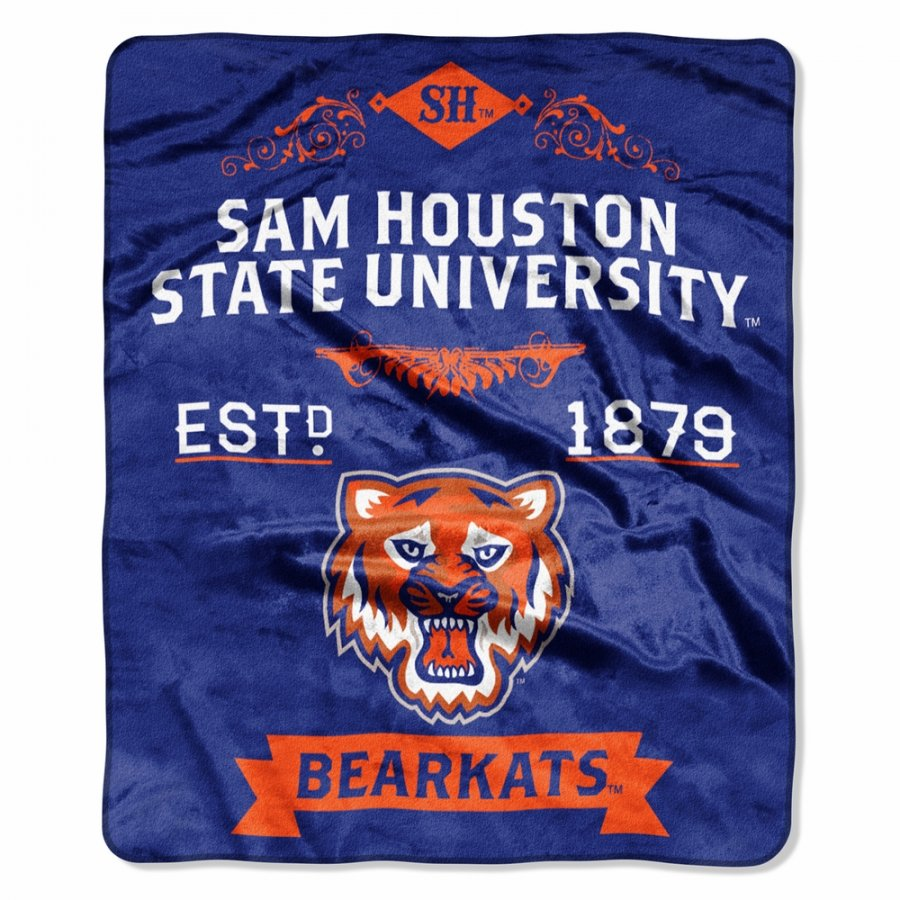 Sam Houston State Bearkats Label Raschel Throw Blanket