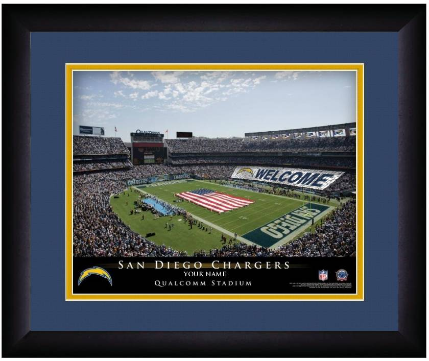 San Diego Chargers 13 X 16 Personalized Framed Stadium Print