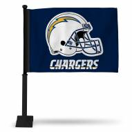 San Diego Chargers Car Flag with Black Pole