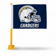 San Diego Chargers Car Flag with Gold Pole