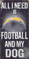 San Diego Chargers Football & Dog Wood Sign