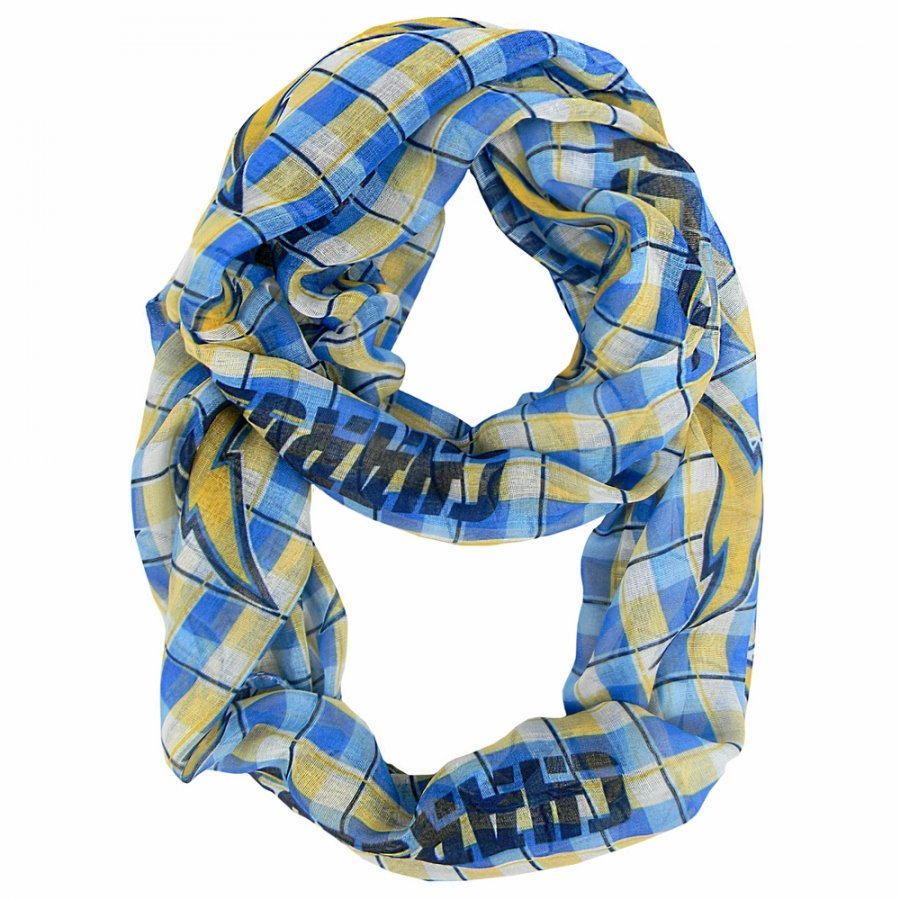 San Diego Chargers Plaid Sheer Infinity Scarf