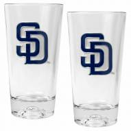 San Diego Padres Baseball Sculpted Bottom Pint Glass Set