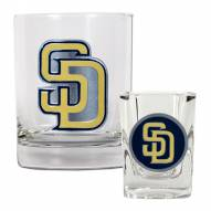 San Diego Padres MLB 14 Oz Rocks Glass & Square Shot Glass 2-Piece Set