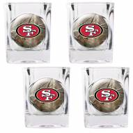 San Francisco 49ers Open Field 4-Piece RealTree Square Shot Glass Set