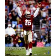 """San Francisco 49ers Joe Montana Touchdown Signal Signed in Blue Signed 16"""" x 20"""" Photo"""
