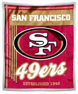 San Francisco 49ers Old School Mink Sherpa Throw Blanket